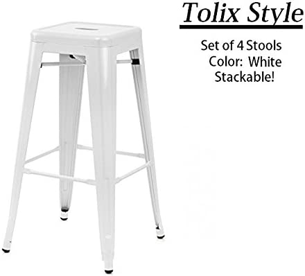 24 Counter Height Tolix Style Bar Stools, Stackable, Indoor Outdoor, Kitchen Trattoria, 350LB Limit, Metal Bar Stools Industrial, Galvanized Steel, White Set of 4
