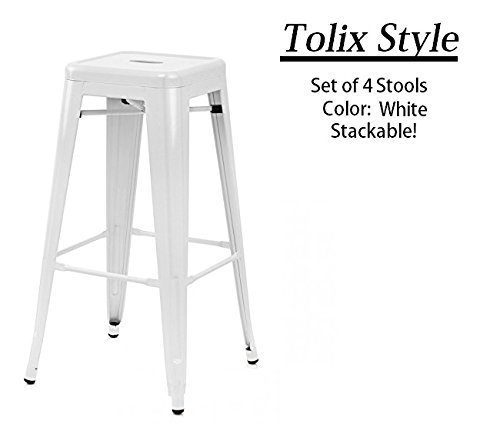 Set of 4 – Tolix Style Stackable Metal Counter Stools with Powder Coated Finish 24 – White