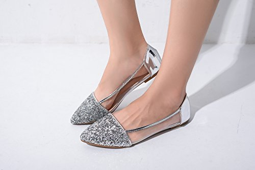 Mila Embellish Shoes Fashion Slip Loafer Mavis Sparkling New Flat Glitter Pointed Silver Lady qwqSraR1