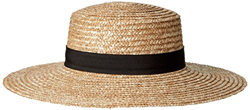 San Diego Hat Company Women's Straw Boater with Solid Black Band and Bow, Natural, One Size