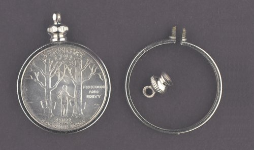 25 cent / USA QUARTER Coin Holder Bezel ~ for charm, necklace, pendant, display (Pack of 4)
