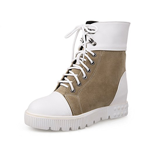 BalaMasa Ladies Color Matching Thick Bottom Heel Snow Soft Material Boots Apricot Zlczy