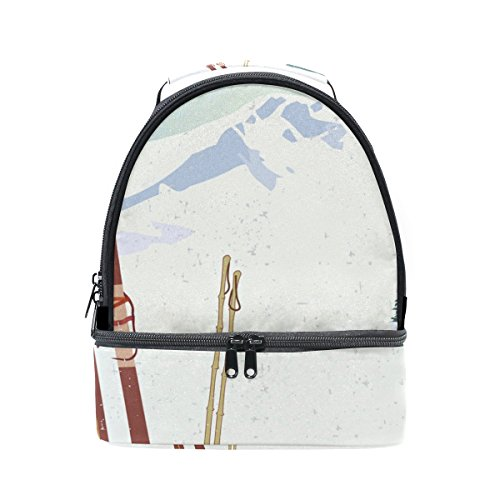 LORVIES Mountains And Old Snowboard Lunch Bag Dual Deck Insulated Lunch Cooler Tote Bag Adjustable Strap Handle for Women Men Teens Boys Girls