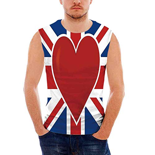 (Mens Sleeveless Union Jack T- Shirt,British Flag with a Big Red Heart in Center)