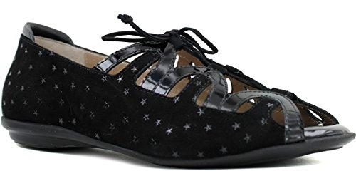 BeautiFeel Women's LEA Flat Sandal, Black Three Dimensional Stargazer Print Suede, 390 M EU (8 US)