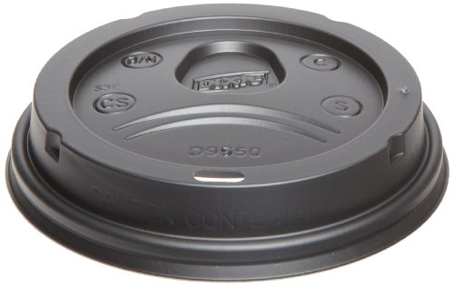 Dixie D9550B Sip-Through Dome Hot Drink Lids, Fits 21, 24oz Cups, Black, 100 Lids per Pack (Case of 10)
