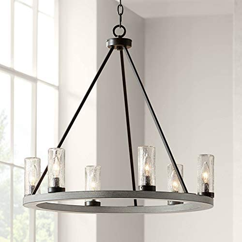 Lillian Gray Wood Bronze Wagon Wheel Chandelier 27″ Wide Rustic Farmhouse Clear Seeded Glass Cylinder Shades 6-Light Fixture Dining Room House Island Entryway Bedroom