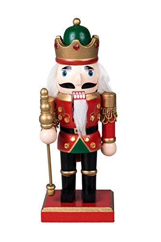 Traditional Royal King Chubby Nutcracker by Clever Creations | Holding Scepter | Green and Gold Crown | Festive Christmas Decor | 8