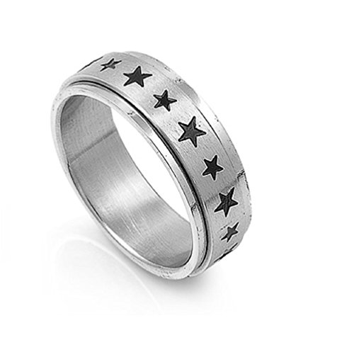 (Stainless Steel Single Stars Band Spinner Ring Size 11)