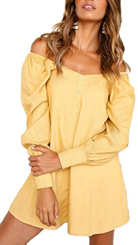 Casual Tunic Long Button Dress Shoulder Sleeve Women Top Front Yellow Off Jaycargogo 80XtwX