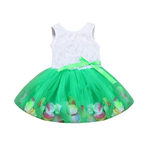 WEXCV Baby meisjesjurk bloemen kant bloemblad tule doopjurk kinderen bruiloft feestelijke jurken mouwloos prinses…