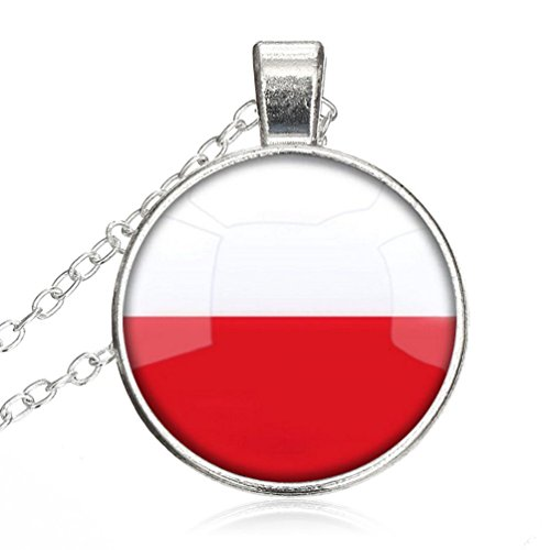 Crystal Necklace The Republic Of Poland National Flag jewelry pendant Silver Charm by Pretty Lee (Poland Crystal Pendant)