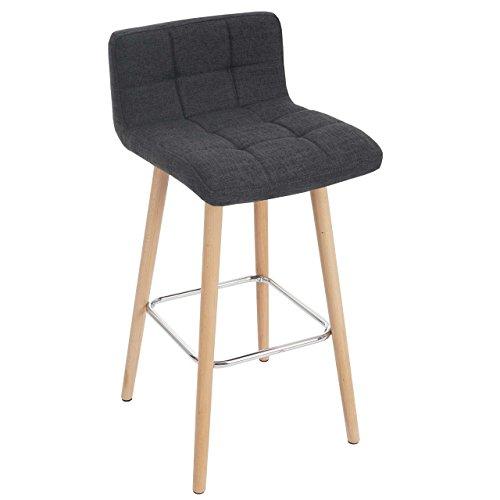 2X Tabouret De Bar Malmo T430 Chaise Comptoir Design Retro En Bois Gris Fonce Tissu Amazonfr Cuisine Maison