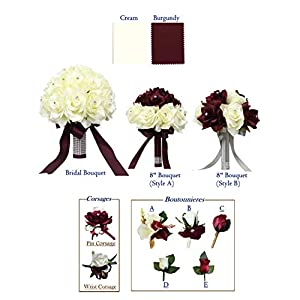 Angel Isabella, LLC Bouquet Corsage Boutonniere-Burgundy Cream Ivory Faux Flower Wedding Prom Homecoming Dance Event Flowers 22