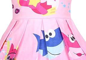 AOVCLKID Toddler Girls Baby Princess Dress up Shark Cartoon Print Party Gown Dress