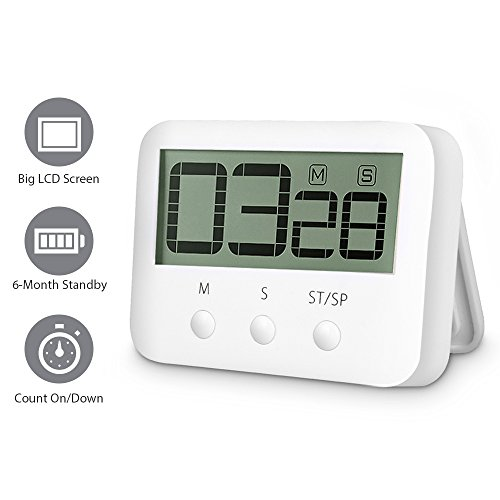 Digital Countdown Timer - Countdown Clock Digital Kitchen Timer Big Digits Cooking Timer Alarm Clock Interval Timer Magnetic Countdown Timer Loud Alarm Stopwatch Cooking Timer Alarm