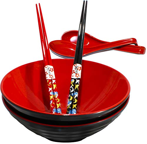 Chef Miso Set of 2 Large Melamine Noodle Soup Bowls Spoons and Bamboo Chopsticks