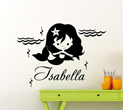 Cool Disney Names (Personalized Mermaid Wall Decal Waves Sea Nursery Custom Baby Name Cartoon Disney Vinyl Sticker Personal Home Nursery Room Art Decor Kids Girl Boy Room Mural Waterproof Vinyl Sticker 37me)