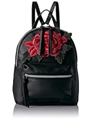 T-Shirt & Jeans Back Pack with Rose Patch, Black