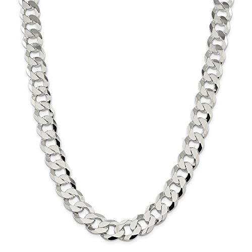 ICE CARATS 925 Sterling Silver 13.5mm Close Link Flat Curb Chain Necklace 22 Inch Fine Jewelry Gift Set For Women Heart by ICE CARATS