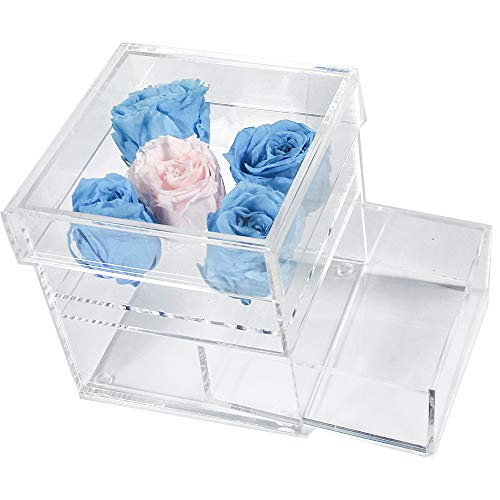 LUGUNU Handmade Clear Acrylic Rose Flower Display Case with Makeup Drawer Organizer Jewelry Storage Boxes for Personalized Vase Decorative Sqaure Flower Pot (Clear-5 Holes) -