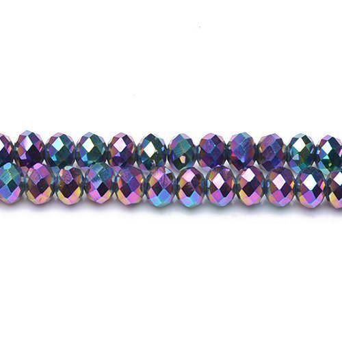 70+ Rainbow Czech Crystal Glass 6 x 8mm Faceted Rondelle Beads - (GC12062-3) - Charming Beads (Rainbow Faceted Crystal Rondelle Beads)