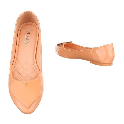 Damen Schuhe Ballerinas Pumps Schwarz Orange