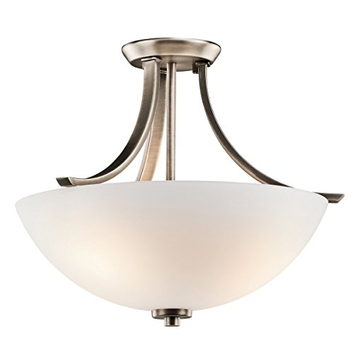 Brushed Pewter 3 Light Semi-Flush Indoor Ceiling Fixture 42563BPT -