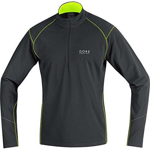 GORE RUNNING WEAR Herren Warmer Thermo-Lauf-Jersey, GORE Selected Fabrics, ESSENTIAL Thermo Zip Shirt long, Größe L, Schwarz/Neongelb, SESSET