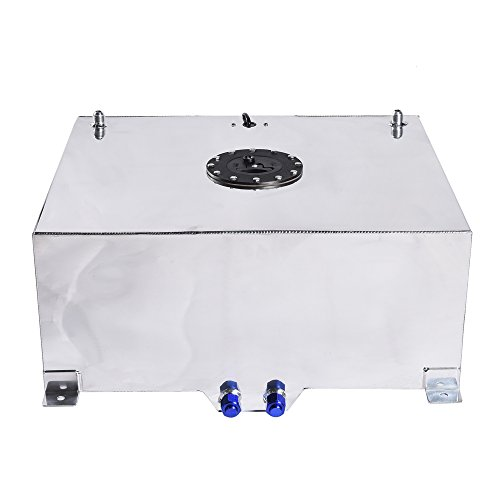 20-Gallon Fuel Cell Gas Tank Lightweight Polished Aluminum Street Drift Strip Racing with Level Sender (Aluminum Gas Tank)