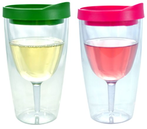 (Southern Homewares SH-10067 Tumbler-16oz Insulated Vino Double Wall Acrylic with Pink and Verde Drink Through Lid-Wine 2Go, One Size, Clear)