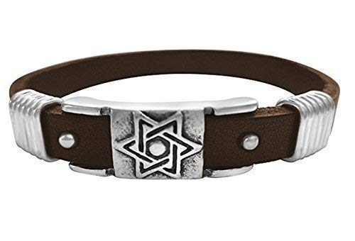 Jewish Star Brown Leather Bracelet Bar Mitzvah Men