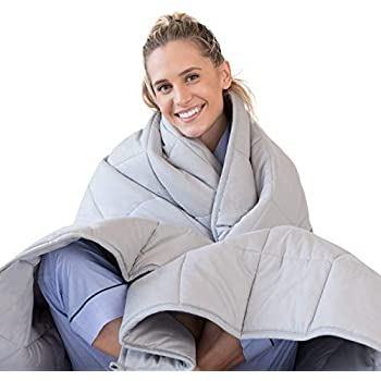 LUNA Adult Weighted Blanket | 25 lbs - 80x87 - King Size Bed | 100% Oeko-Tex Certified Cooling Cotton & Premium Glass Beads | Designed in USA | Heavy Cool Weight for Hot & Cold Sleepers | Light Grey