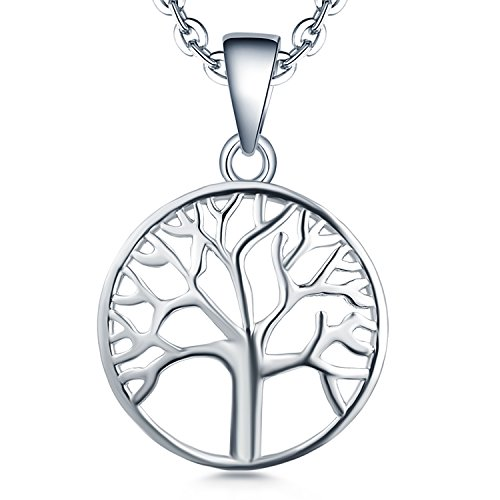 e♥Valentine's Day Gifts♥-YL 925 Sterling Silver Tree Necklace-Women Giving Family Tree of Life Pendant Necklace Jewelry (Silver Family Necklace)