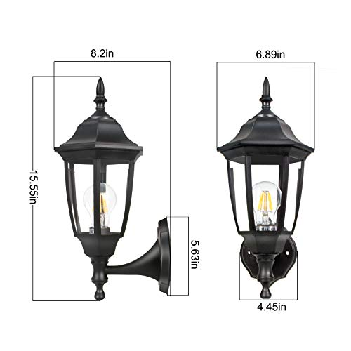 Garage Sconces Exterior Wall Mounted Light Fixtures Doors: FUDESY 2-Pack Outdoor Wall Lanterns,Corded-Electric 12W