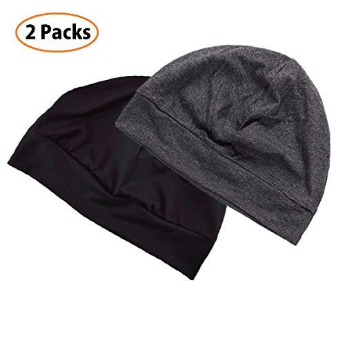 Beanie Stretch Cotton (Headshion Unisex Chemo Caps, 2-Packs Cotton Stretch Beanie Hat Multifunction Skull Cap Sleep Cap for Men & Women (Black & Gray))