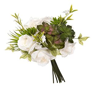 Darice David Tutera Artificial White & Green Rose & Succulent Mix Rose and Succulant Bridal Bouquet 95