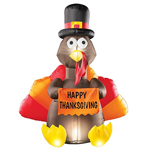 Outdoor Thanksgiving Decorations (Collections Etc 5 Foot Tall Inflatable Turkey Outdoor Thanksgiving Decoration, Lighted, Yard Lawn Garden)