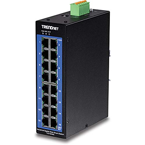 TRENDnet 16-Port Industrial Gigabit Web Smart DIN-Rail Switch, 32 Gbps Switching Capacity, IP30 Rated Housing, Lifetime Protection, -