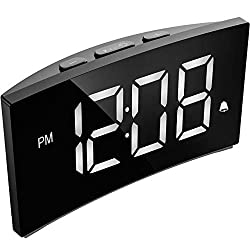 PICTEK Digital Alarm Clock, 5 Curved Dimmable LED Screen, Digital Clock for Kid Senior, Ultra-Clear White Large Number, 6 Brightness, Snooze, 12/24H, Alarm Clock for Bedroom Office (NO Adapter)