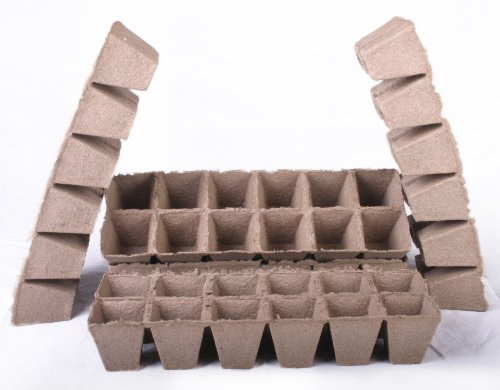 156 NEW Square Jiffy Peat Pots Size 2.25x2.25 - Strips ~ Pots Are 2.25 Inch Square At the Top and 2.25 Inch Deep.