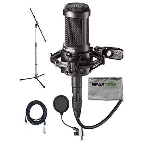 Audio Technica AT2050 Studio Condenser Mic w/Pop Filter, Cable, Boom Stand, Gear