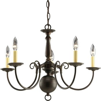 Progress Lighting P4346-20 5-Light Americana Chandelier with Delicate Arms and Decorative Center Column, Antique Bronze ()