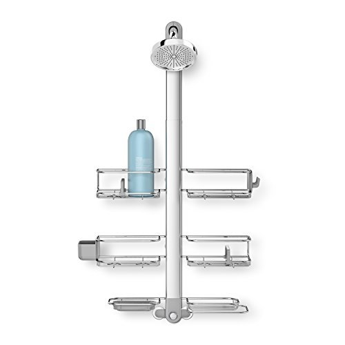 (simplehuman Adjustable Shower Caddy XL, Stainless Steel + Anodized Aluminum )