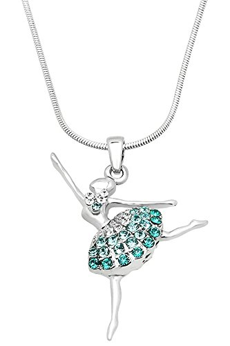Cute Ballerina Ballet Dancer Dance Pendant Necklace Jewelry Gift for Teens, Girls, Women, Daughters, Sisters (Teal Blue)