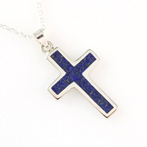 Men's Women's Sterling Silver Navy Blue Natural Lapis Mosaic Cross Pendant Necklace 18+2'' Extender Chain (Cross Blue Mosaic)