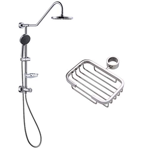 KES Retro-Fit Rain Shower System BRASS Diverter with 5 Function Handheld Shower and Adjustable Slide Bar Stainless Steel Soap Dish Wall Mount Polished Chrome, X6400A-CH ()