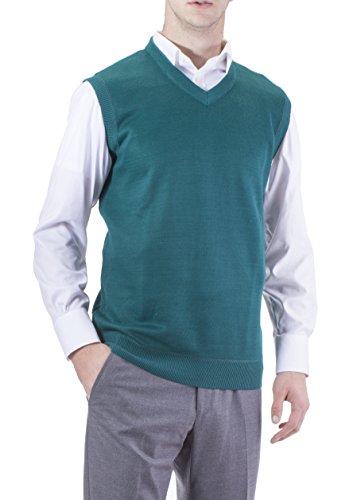 J.Korn Men's Solid Color V-Neck Sweater Vest SVS50 (Large Green)