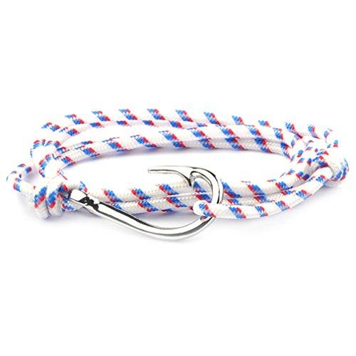 SW8 Silver Charm Fish Hook Bracelet Men Women Multi-Wrap Paracord Bracelets Adjustable - France White (Survival Charm Bracelet)