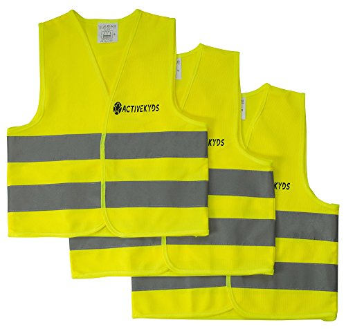 Active Kyds 3-Pack High Visibility Kids Safety Vest for Construction Costume, Biking]()